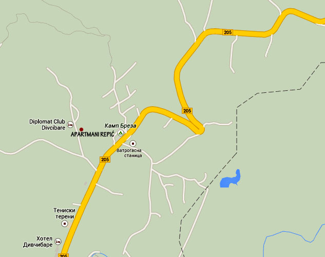 Apartmani na mapi Divčibara